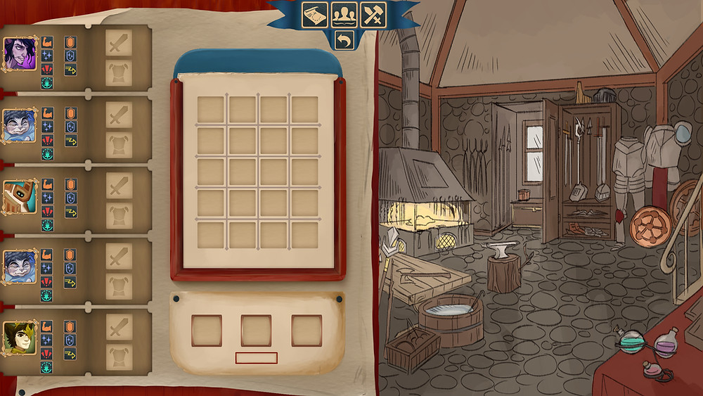 Kilta's new blacksmith interface. On the left, characters stats and icons plus an empty grid and on the right a blacksmith workshop with wooden furniture and metal armors
