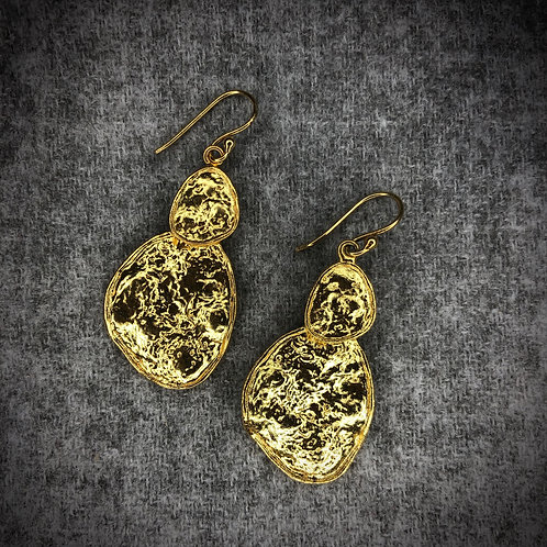 Hammered 22 Carat gold plated earrings