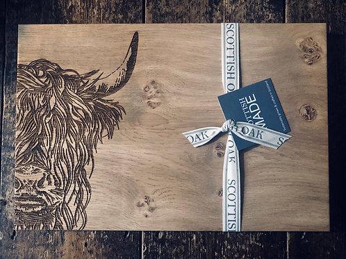 Highland cow handmade chopping board