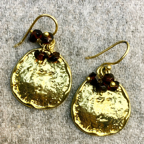 Hammered ruby earrings