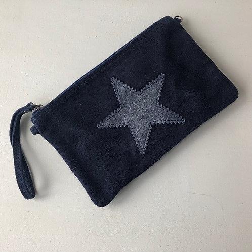 navy Italian suede clutch bag