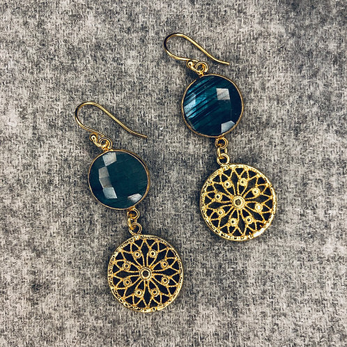 Laboradite and filigree earrings