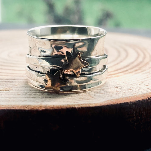 Solid silver 925 spinning ring with brass stars