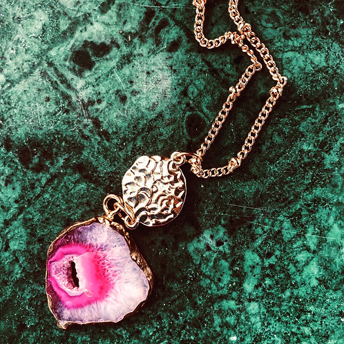 Handmade pink stone necklace