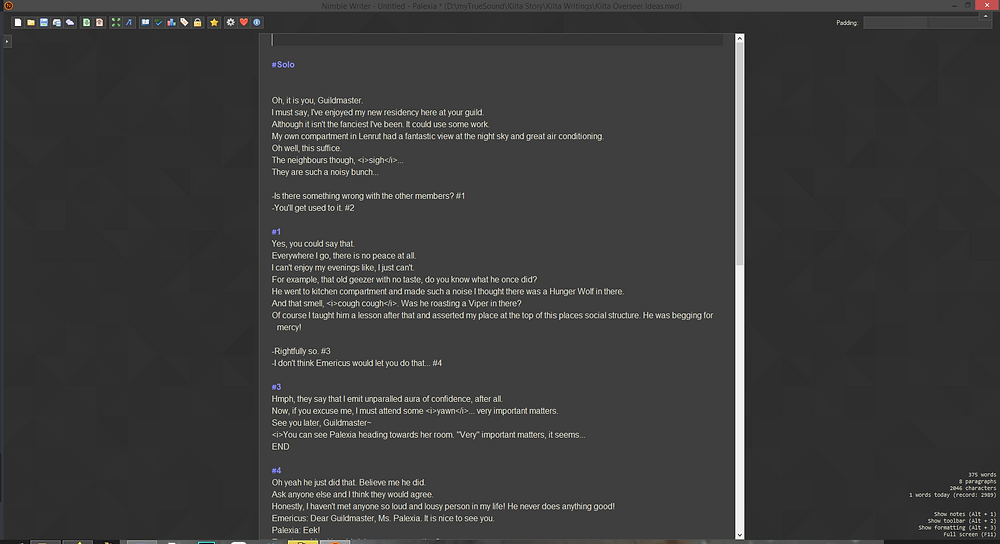Screenshot of a text file where there is a dialogue between an obviously obnoxious woman and the player