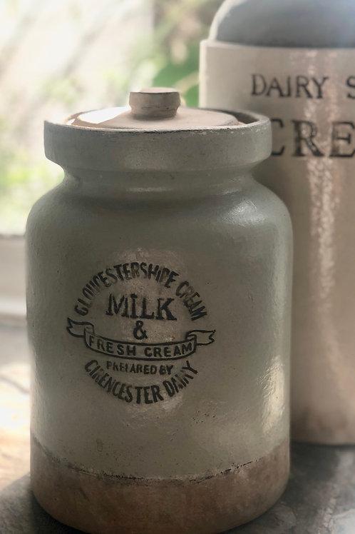 Rustic light sage and cream jar