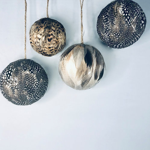 Hand made Feather Baubles