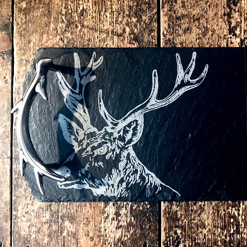 Stag serving board with silver handles