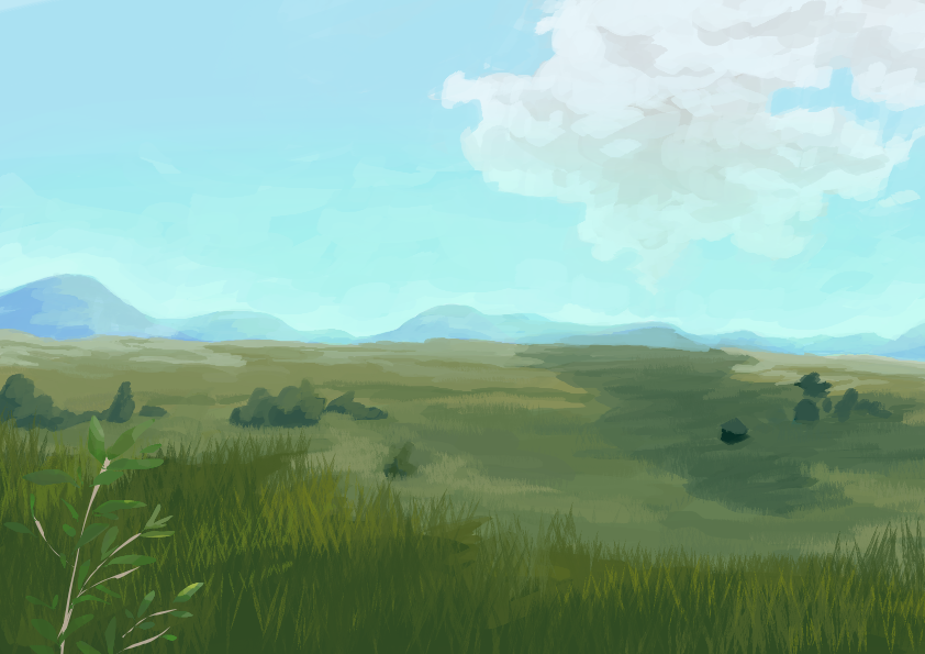 Steppe with grass and some trees with blue skies and a couple of clouds above. You can guess there are mountains in the background