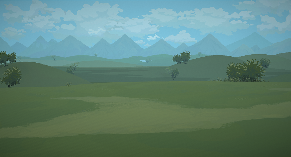 Steppes in pixel art with blue skies and clouds, plus mountains in the background