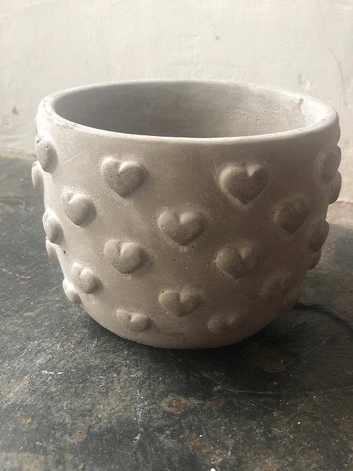 Concrete 3D heart planter