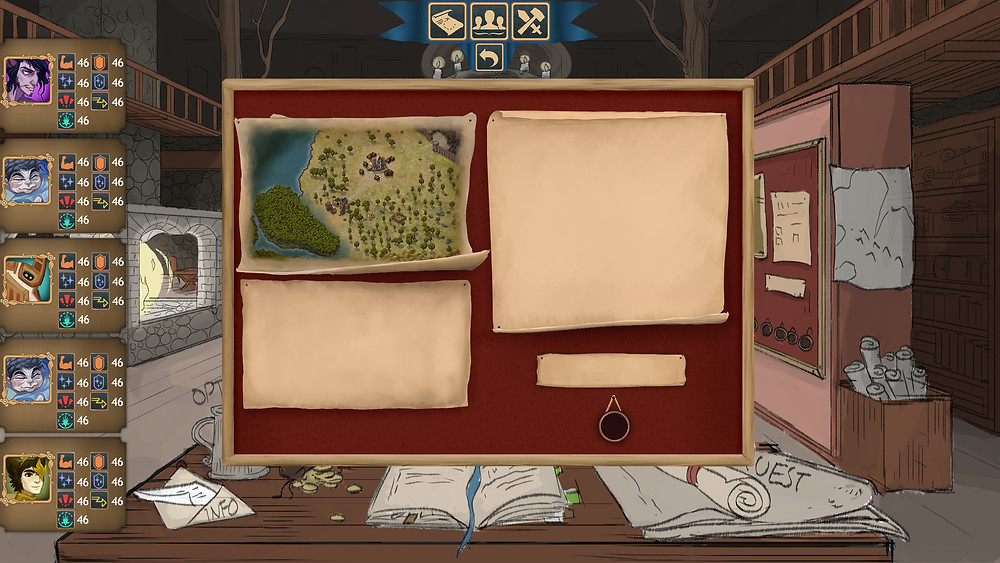 Our new quest board! Three pages of paper including a map on a wooden panel with in background a living room from middle ages.