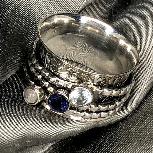 3 Stone Spinner Ring