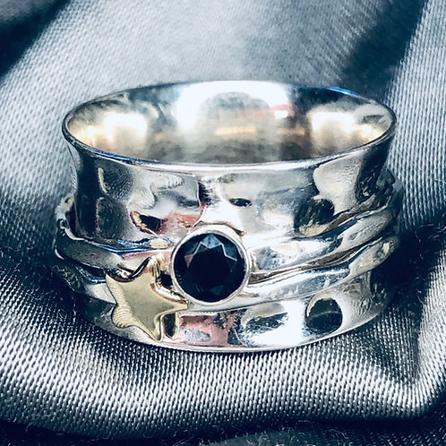 Star and Onyx spinning ring