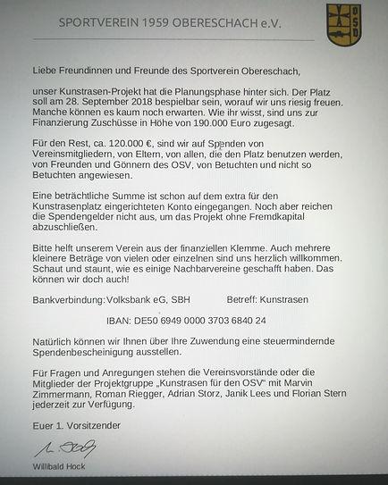 Aufruf SV Obereschach
