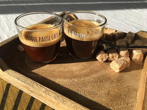 """Verres à café """"P'tite pause café à Montpeul"""" - Noir/Blanc"""