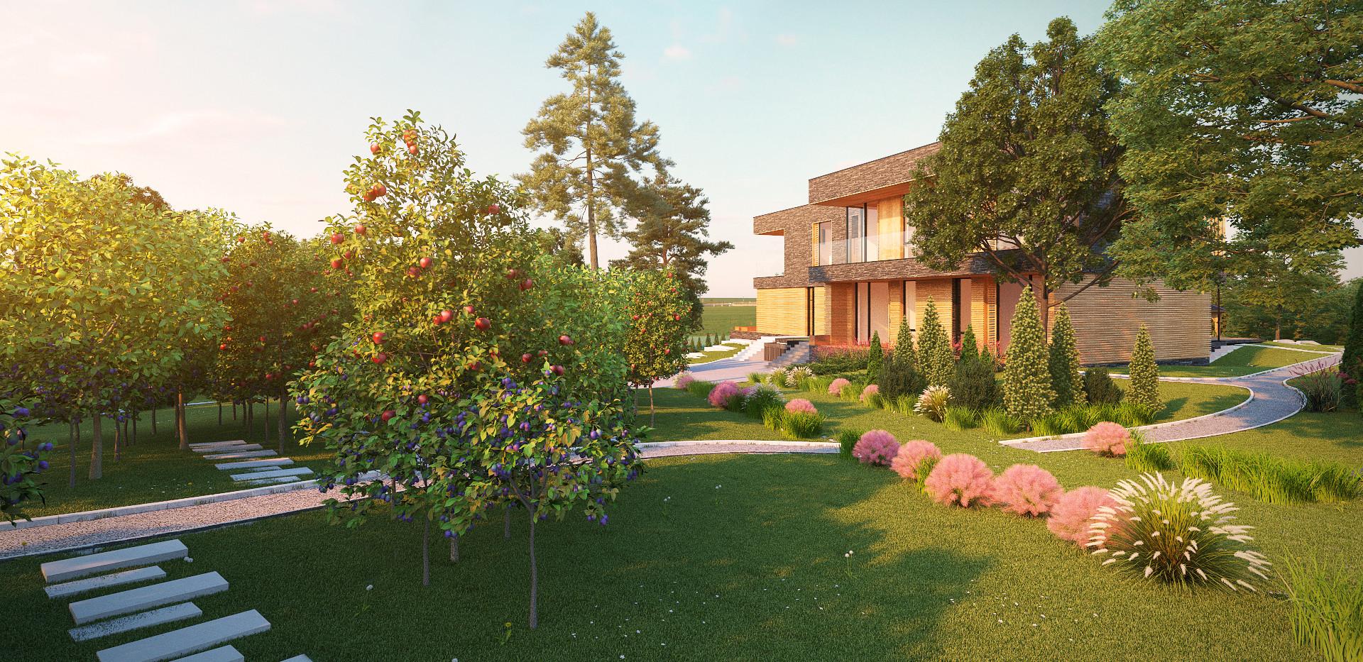 3Д: плодовый сад.