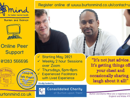 Still time to register for our Zoom Peer Support Sessions