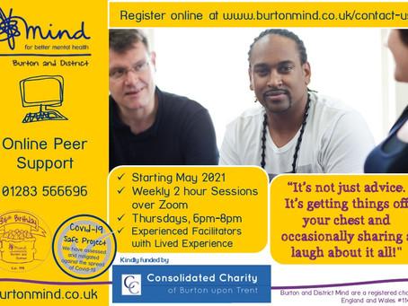 Online Peer Support - Burton, starting in May 2021