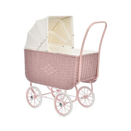 Puppenwagen retro rattan rose
