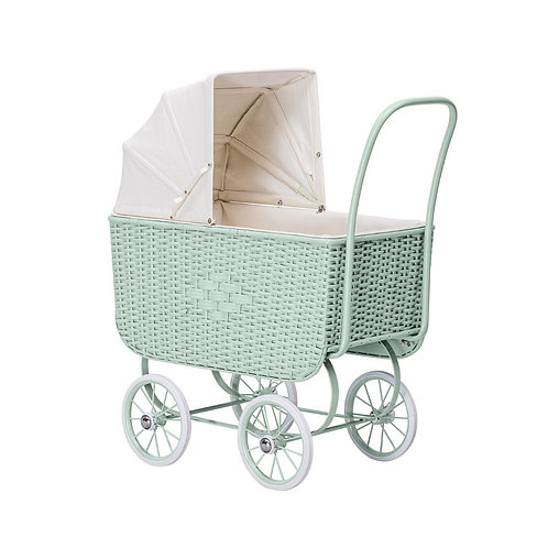 Puppenwagen retro rattan mint