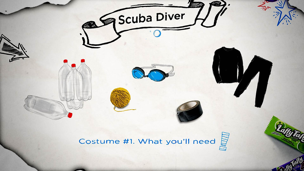 Laffy Taffy scuba diver costume, step 1