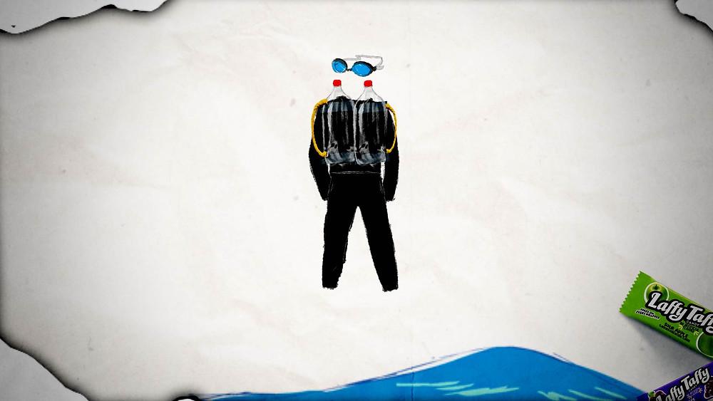 Laffy Taffy Scuba Diver Costume - Step 5
