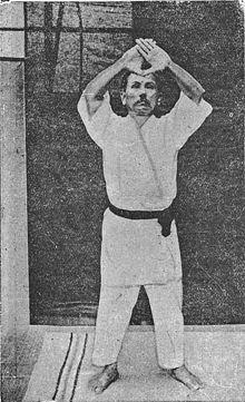 Gichin Funakoshi practising Kanku-Dai