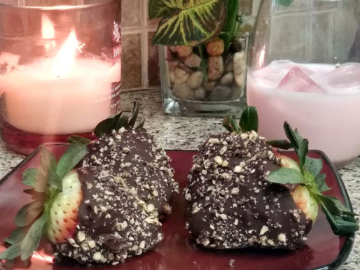 Infused Dark Chocolate And Almond Covered Strawberries For Valentine's Day Dosing