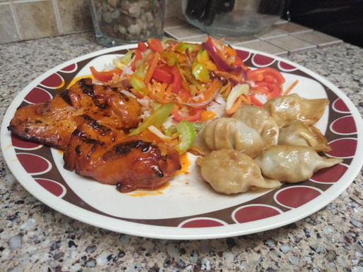 Infused Thai Coconut Chicken with Infused Teriyaki Glazed Dumplings and Stir Fry over Jasime Rice