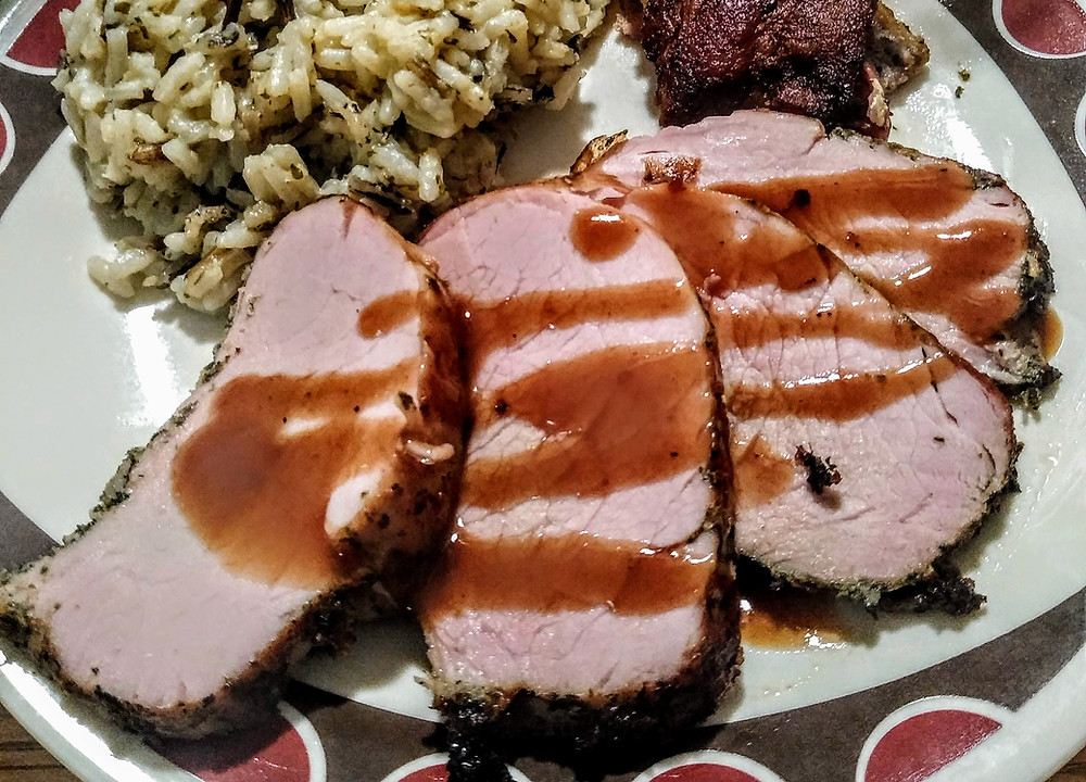 Bacon-wrapped Pork Tenderloin with Infused Brown Sugar Gravy