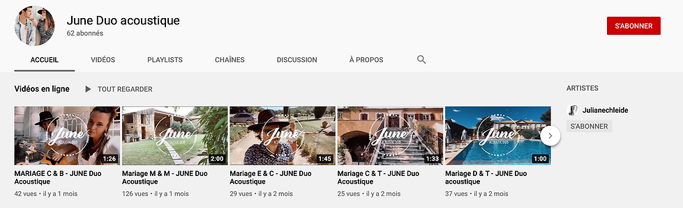 JUNE Duo Acoustique YOUTUBE