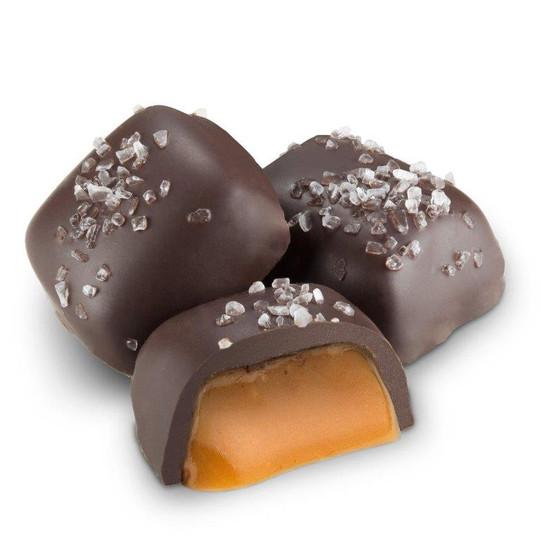 Dark Chocolate Vanilla Caramels with sea salt