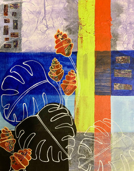 Collage and acrylic