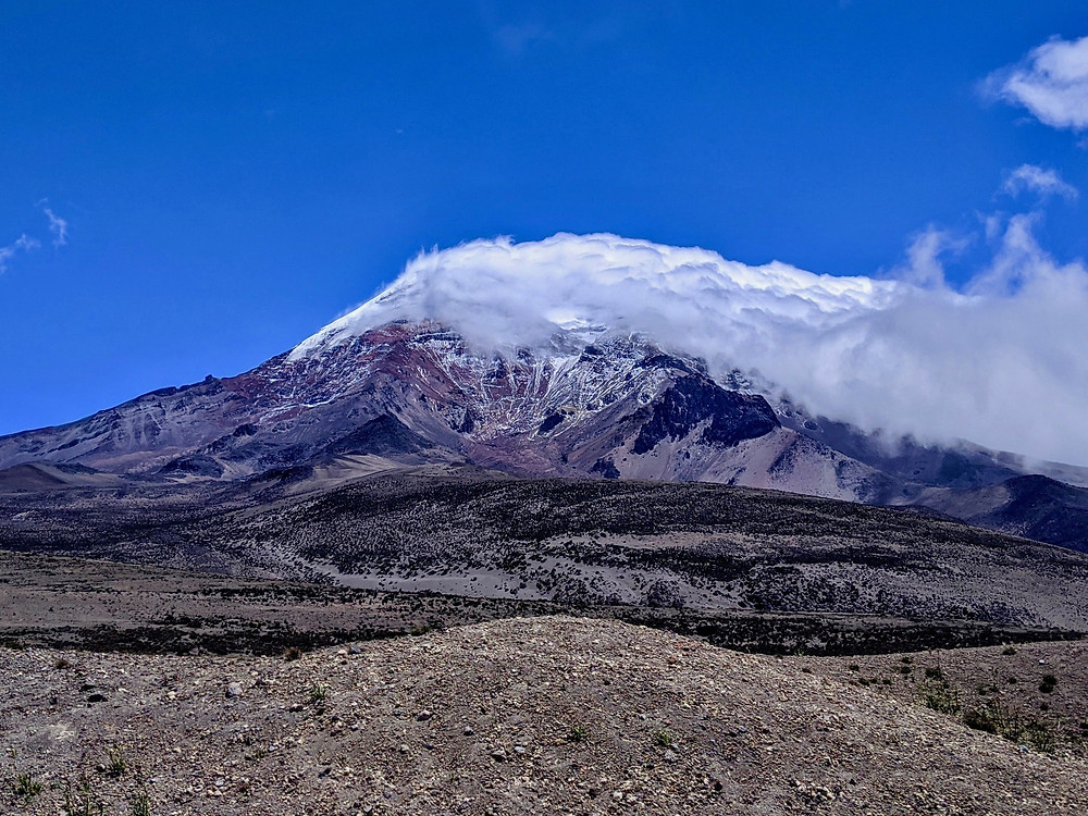 "View of Chimborazo in ""Mountaineering in Ecuador"" by Michelle Riband, Beyond the Brambles"