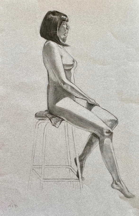 Live model in charcoal