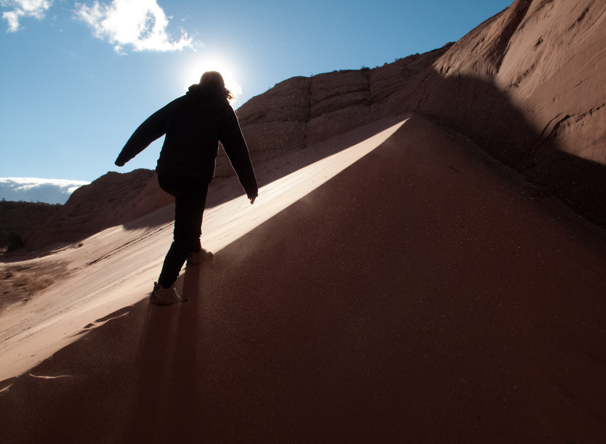 Hiking up a dune