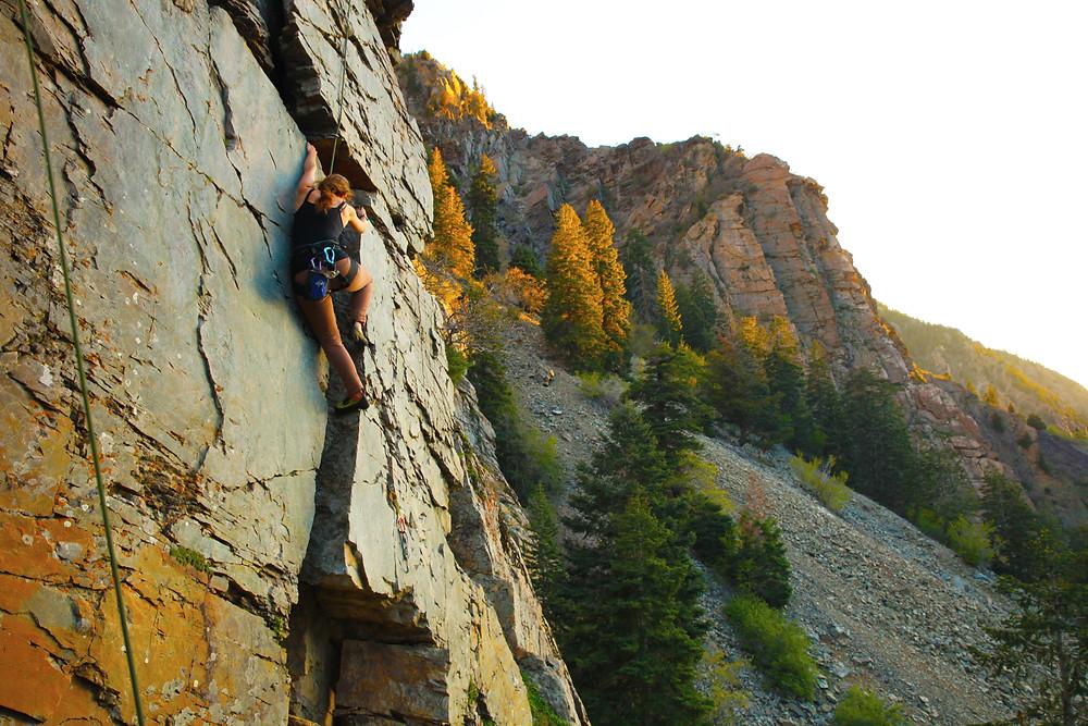 Abby on Top-Rope. Big Cottonwood Canyon, Utah