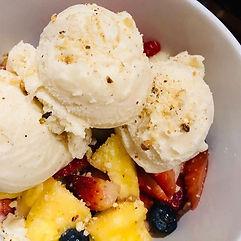 Macedonia. Fruit with vegan ice-cream an