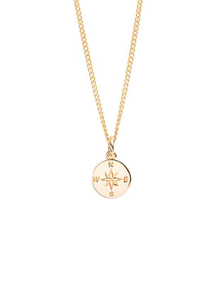 Tilly Sveaas Small Gold Compass / Not All Who Wander Necklace