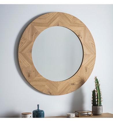 Chevron Oak Round Mirror