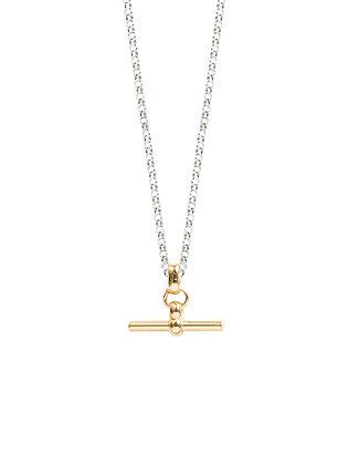 Tilly Sveaas Gold T Bar On Silver Belcher Chain