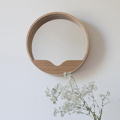 Round oak mirror 60cm