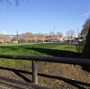 Vincent Square with Westminster Cathedral spire in the background