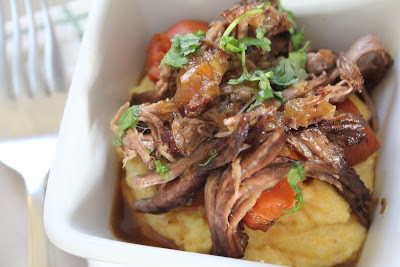 Mission Brewery IPA Braised Beef Over Creamy Polenta