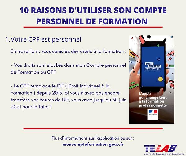 10 raison CPF  1ère raison ( CPF personn