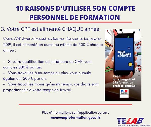 10 raison CPF  3ème raison ( 500€ chaque