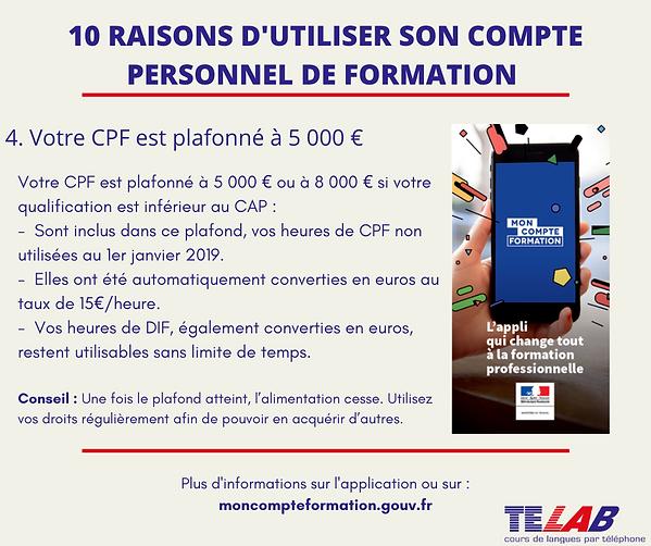 10 raison CPF  4ème raison ( Plafonné à