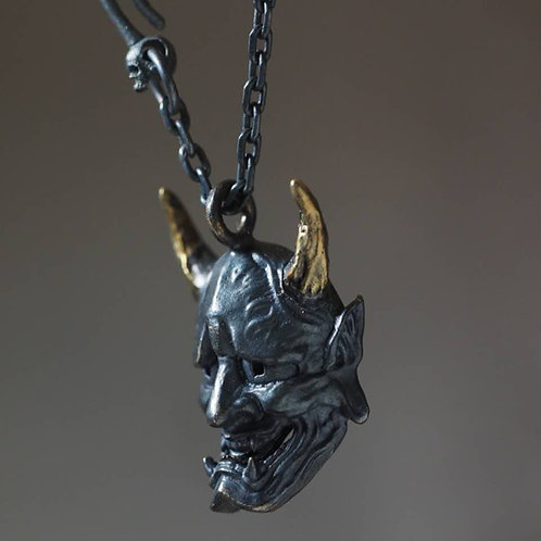 "Small 1"" Dark hannya with 24K goldplated horns"