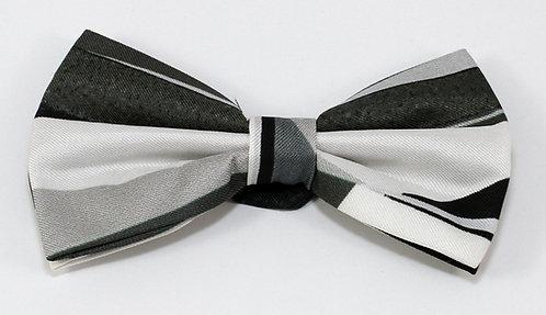 Pure silk Black and White pre-tie bow tie
